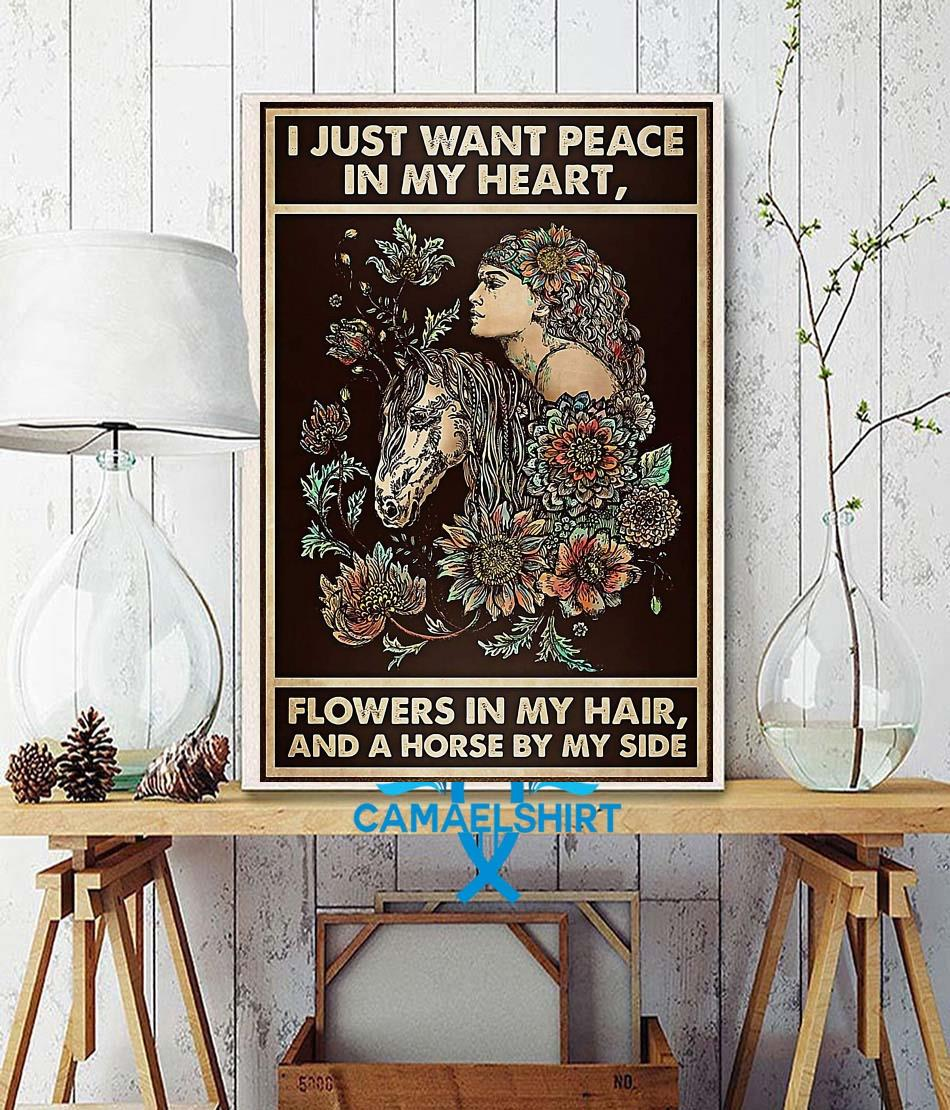 Horse girl I just want peace in my heart flower in my hair poster wall decor