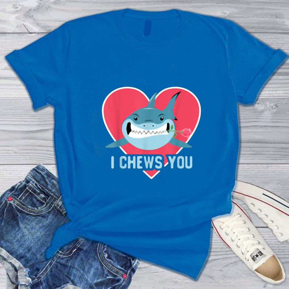 I chews you shark cupid with rose sharks valentines day t-s blue