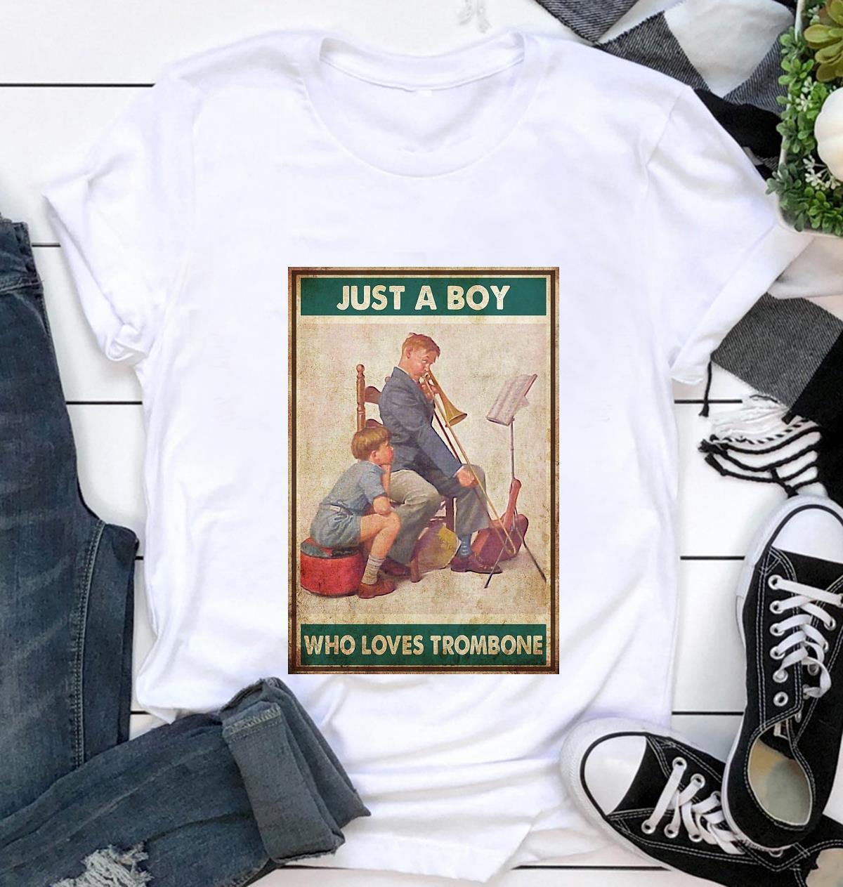 Just a boy who love trombone poster t-shirt