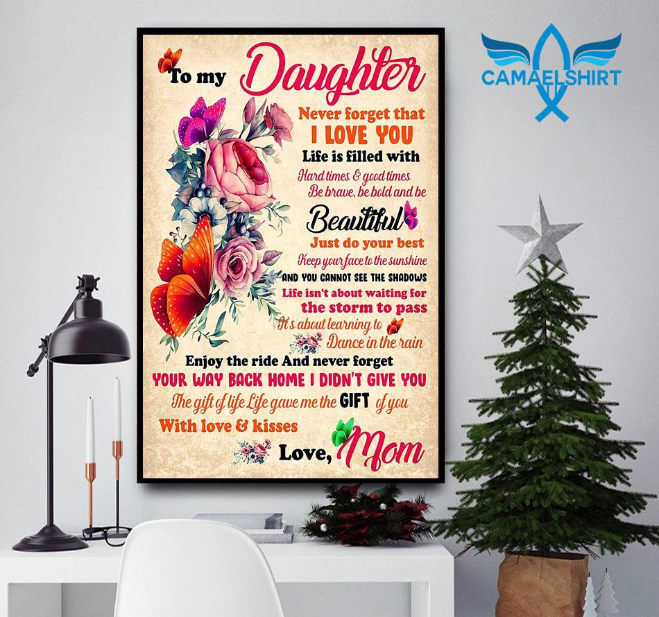 Mom to my daughter rose butterfly wall art poster