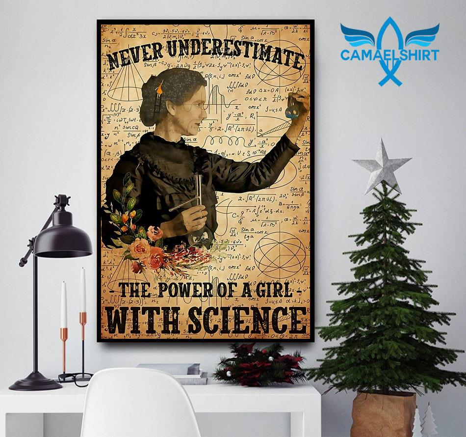 Never underestimate the power of a girl with science poster