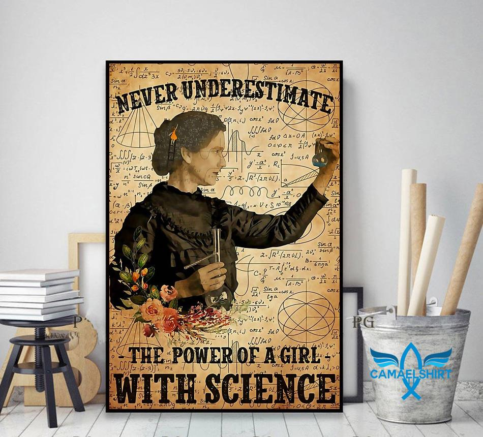 Never underestimate the power of a girl with science poster decor art