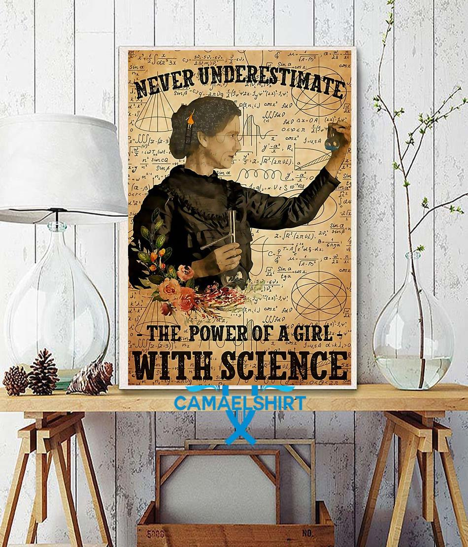 Never underestimate the power of a girl with science poster wall decor