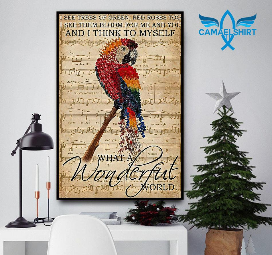 Parrot poster I think to myself what a wonderful world