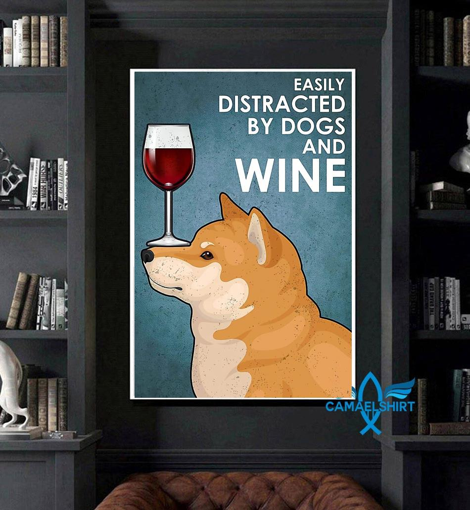 Shiba Inu easily distracted by dogs and wine poster art