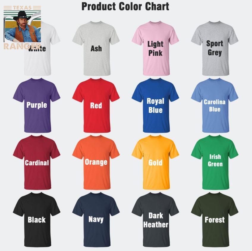 Texas Ranger vintage t-s Camaelshirt Color chart