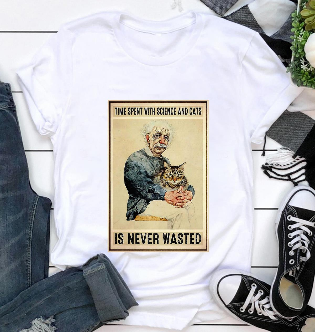 Time spent with science and cats is never wasted poster t-shirt