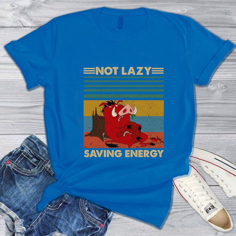 Timon and Pumbaa not lazy saving energy vintage t-s blue