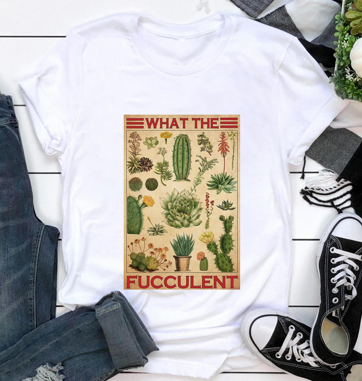 Types of cactus what the fucculent poster canvas t-shirt