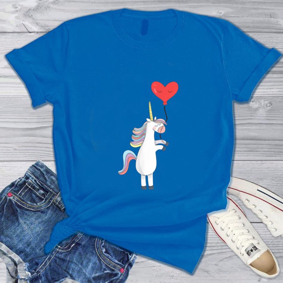Unicorn balloon love heart valentines day t-shirts blue