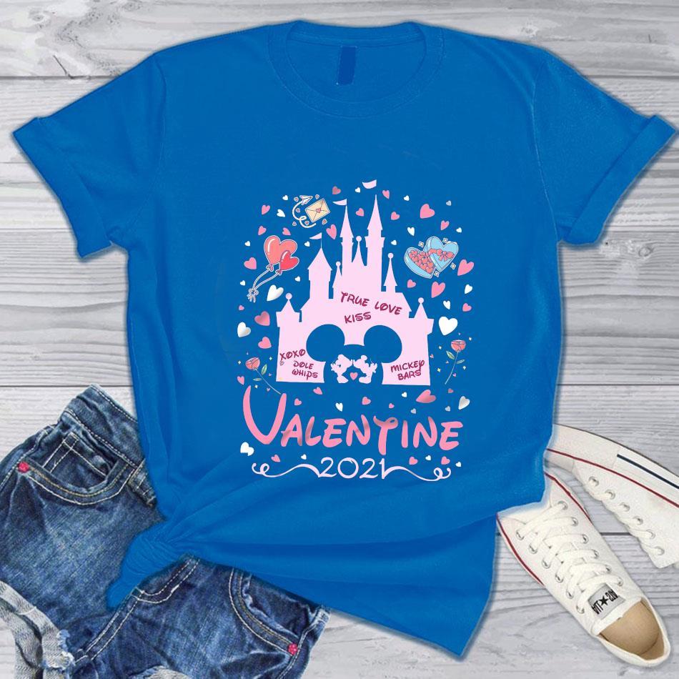 Valentine 2021 Disney castle t-s blue