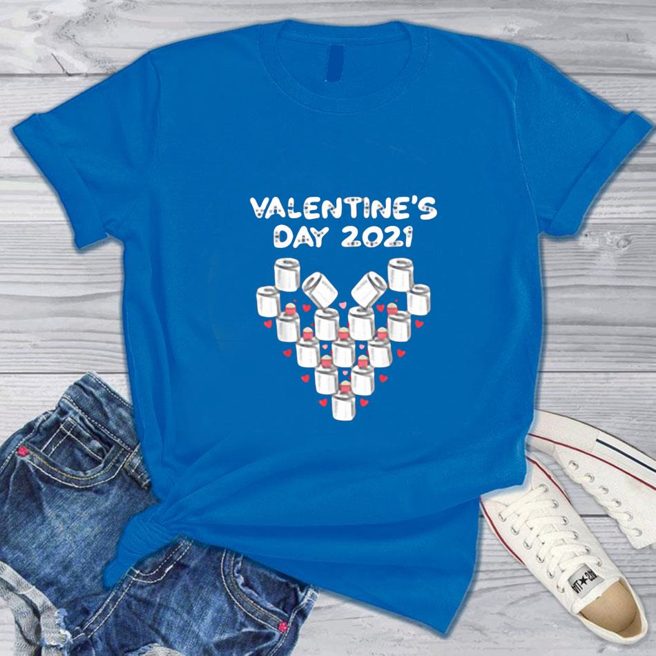 Valentines day 2021 toilet paper heart funny valentine t-s blue