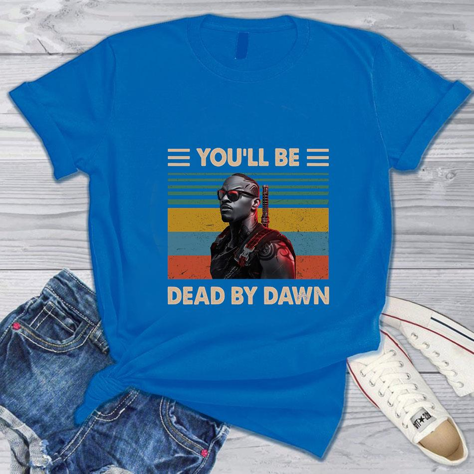 Vampire Hunter you'll be dead by dawn vintage t-s blue
