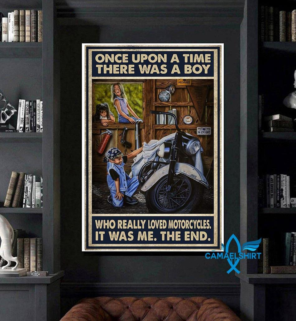 Vintage there was a boy who really loved motorcycles poster art