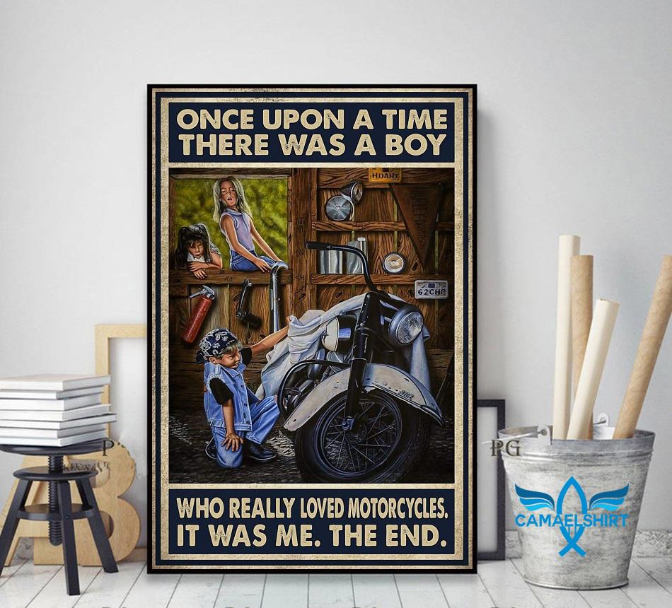 Vintage there was a boy who really loved motorcycles poster decor art