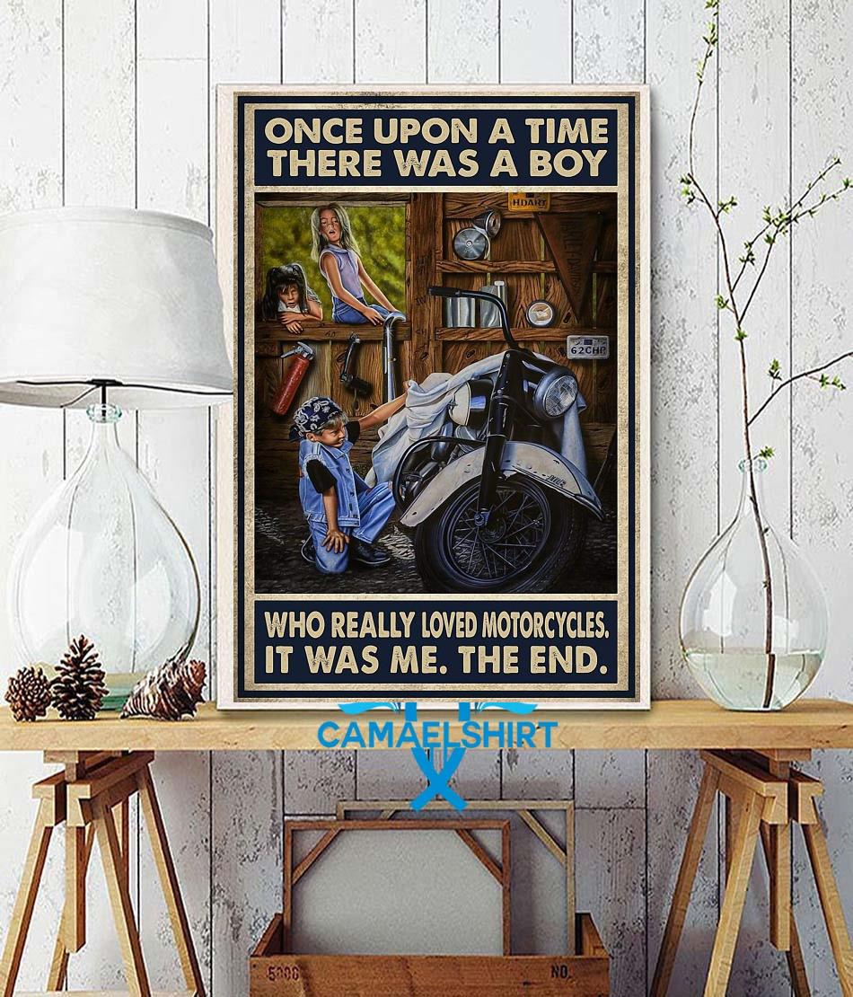 Vintage there was a boy who really loved motorcycles poster wall decor
