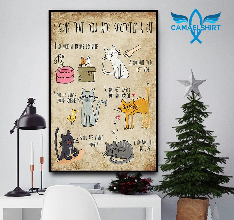 6 signs that you are secretly a cat animal poster canvas