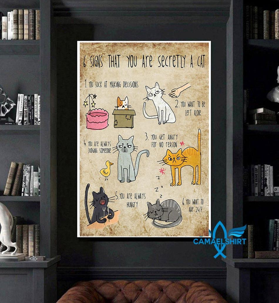 6 signs that you are secretly a cat animal poster canvas art